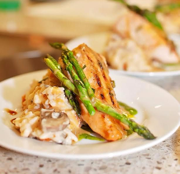 Grilled Salmon Marsala with Asparagus and Mashed Potatoes