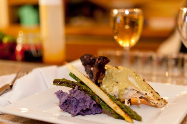 Peruvian Roasted Chicken with Organic Asparagus and Purple Peruvian Potatoes