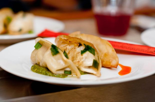 Shrimp Dumplings with chili oil and Chimichurri Sauce